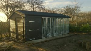 Galvanised dog kennel sections