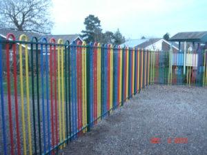 Multicoloured Bow top railings