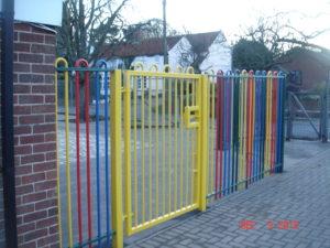 Multicoloured railings & Gate
